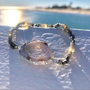 Silver Druzy Agate Crystal Bracelet